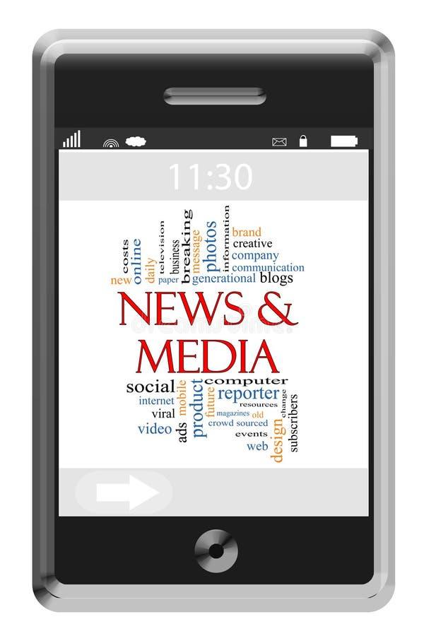 Wiadomości & środka słowa chmury pojęcie na ekranu sensorowego telefonie royalty ilustracja