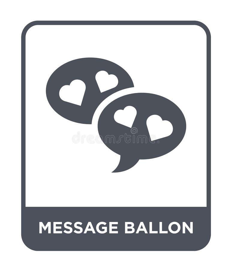 wiadomości ballon ikona w modnym projekta stylu wiadomości ballon ikona odizolowywająca na białym tle wiadomości ballon wektorowa royalty ilustracja