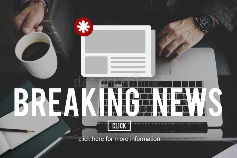 Wiadomości gazetki zawiadomienia aktualizaci informaci pojęcie zdjęcia stock