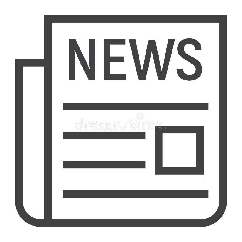 Wiadomości kreskowa ikona, gazeta i strona internetowa, ilustracja wektor