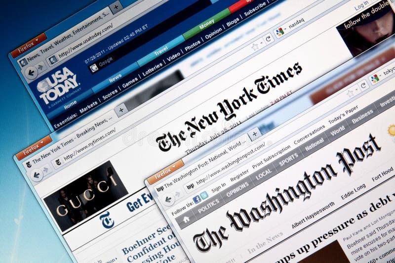 wiadomości online miejsc sieć obraz stock