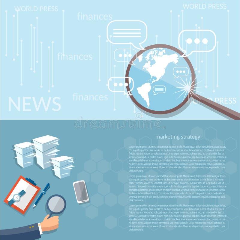 Wiadomości pojęcia strategii marketingowej biznesu finansowy analityk ilustracja wektor