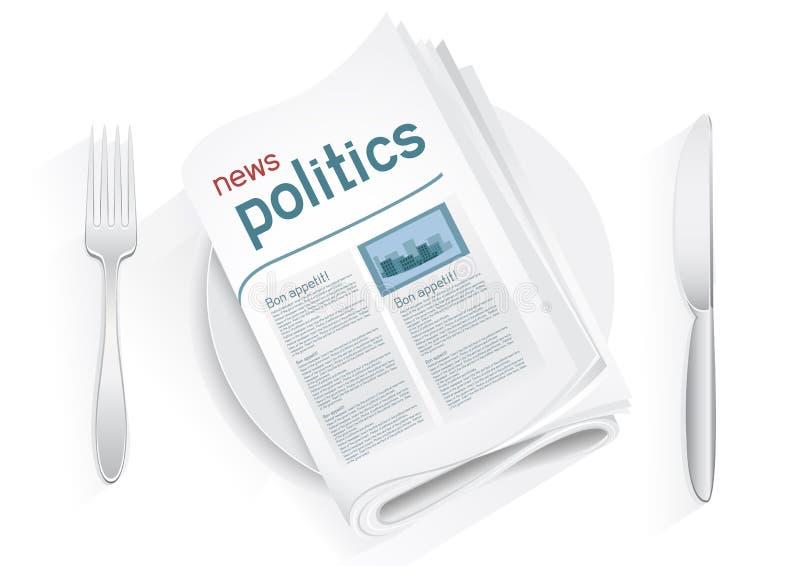 Wiadomości polityka tablewares royalty ilustracja