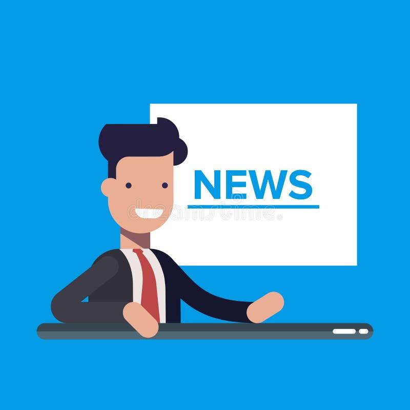 Wiadomości telewizyjne spiker na tła TV wiadomości dnia Płaska wektorowa ilustracja w kreskówka stylu ilustracja wektor