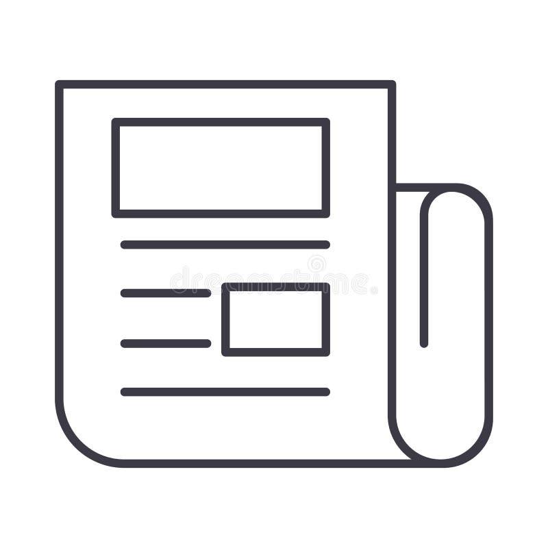 Wiadomości wektoru linii ikona, znak, ilustracja na tle, editable uderzenia ilustracji
