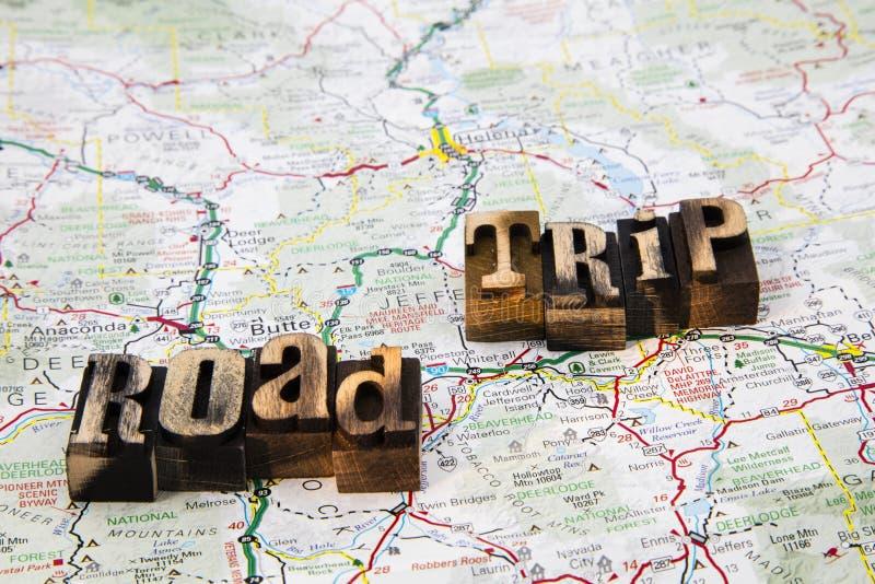 Wiadomości wycieczki samochodowej letterpress mapa fotografia stock