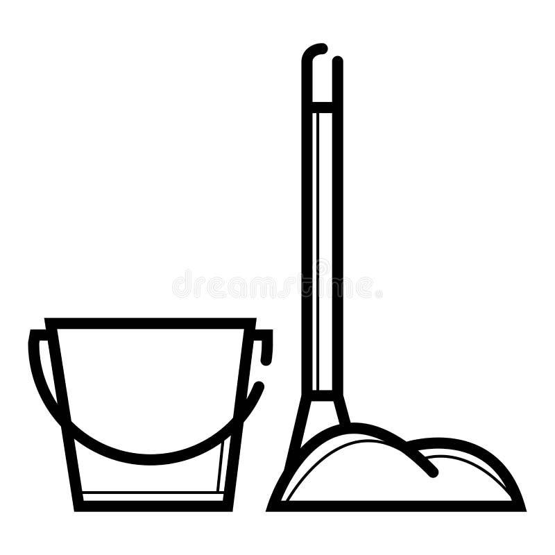 Wiadra i kwacza ikona ilustracji