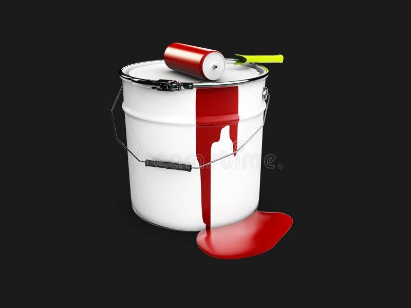 Wiadro czerwona farba z rolownikiem, 3d ilustracja zdjęcie royalty free