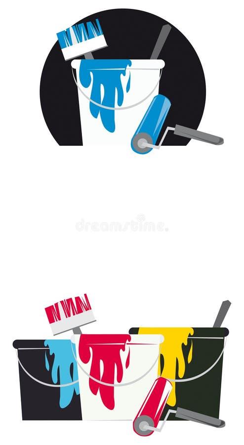 wiadro farby narzędzi royalty ilustracja