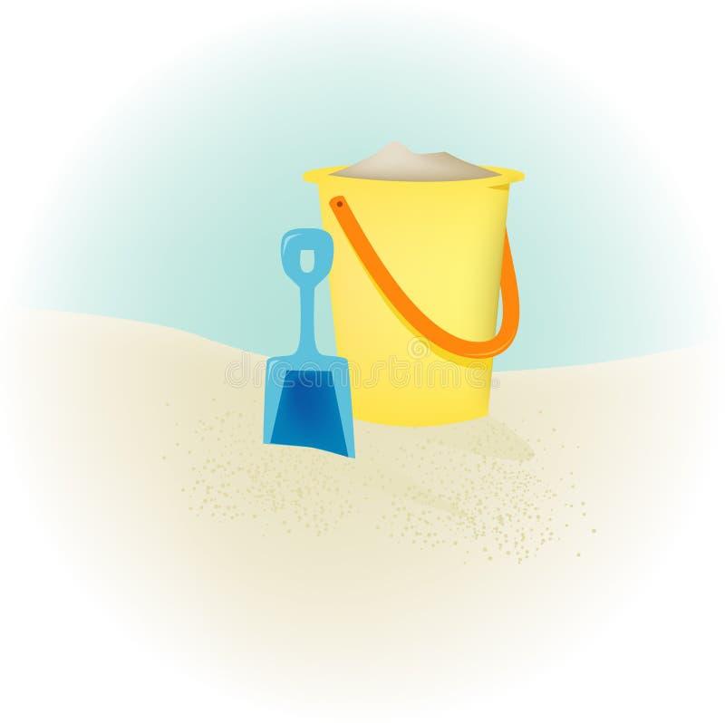 wiadro piasku plaży royalty ilustracja