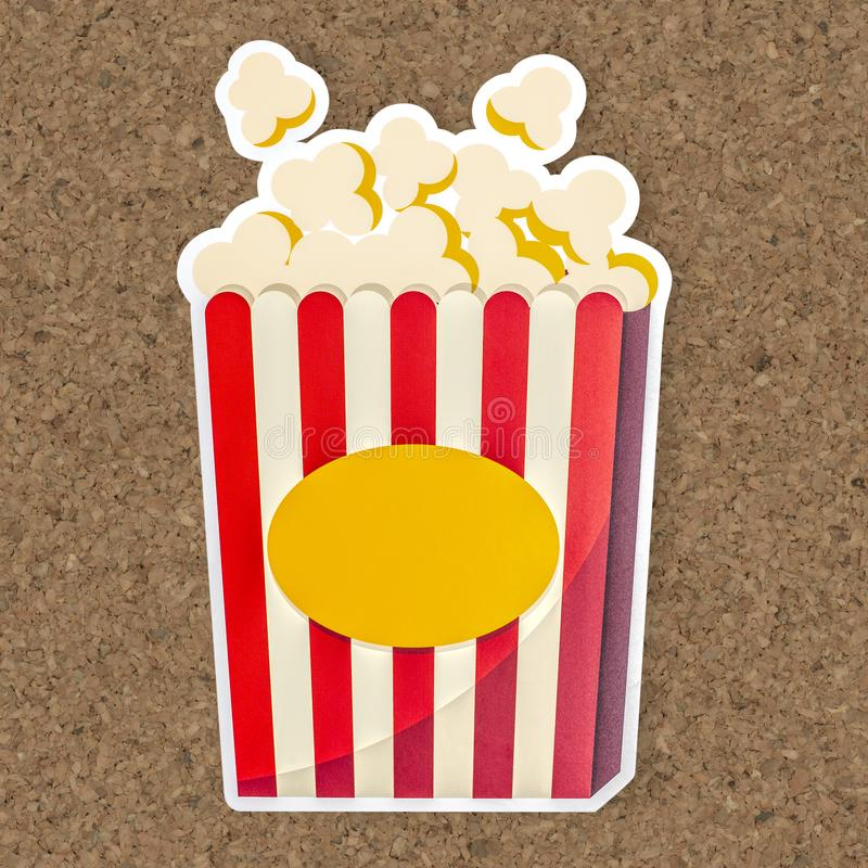 Wiadro popkorn ikony ilustracja obrazy royalty free