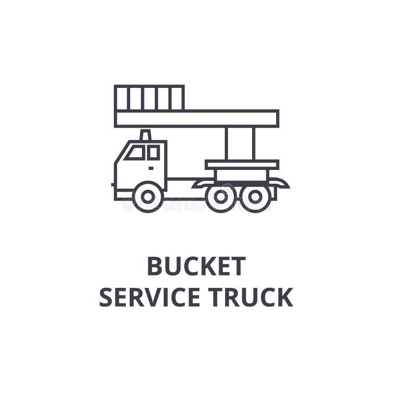 Wiadro usługa ciężarówki wektoru linii ikona, znak, ilustracja na tle, editable uderzenia ilustracji