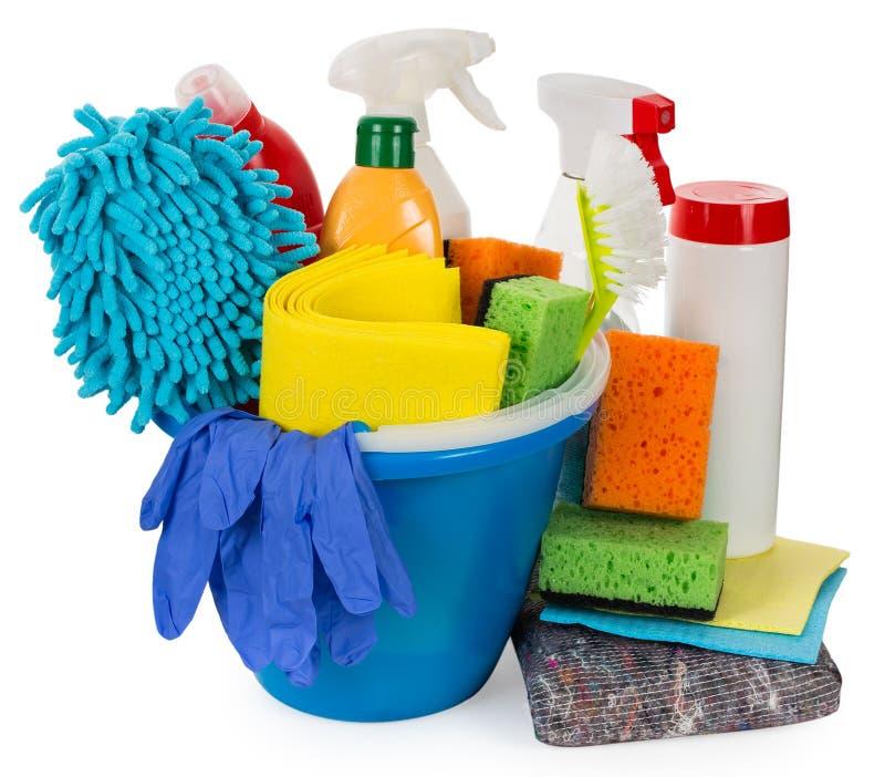 Wiadro z cleaning dostawami zdjęcie stock