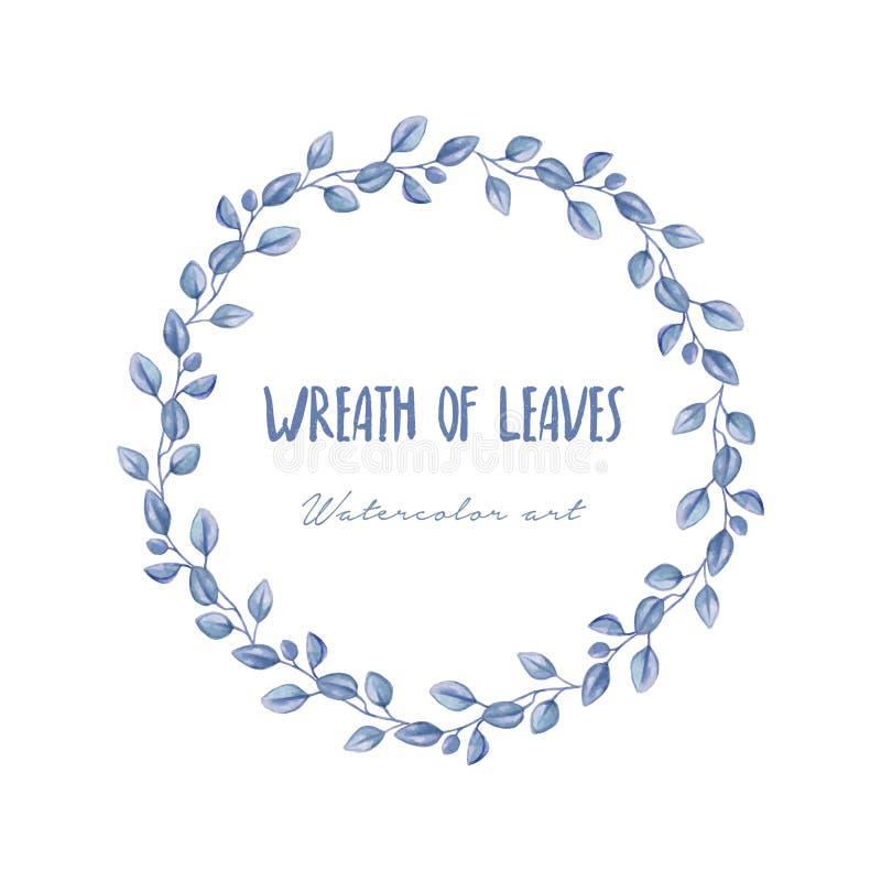 Wianek błękitni liście w akwarela stylu royalty ilustracja