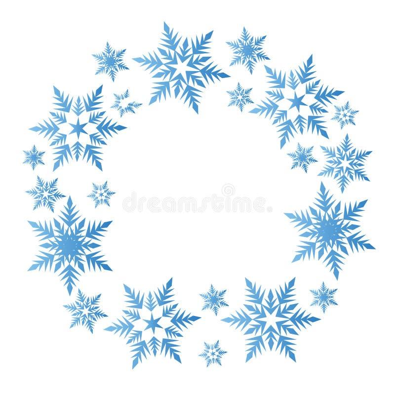 Wianek błękitni płatki śniegu okrąża zim bożych narodzeń nowego roku vecto ilustracji