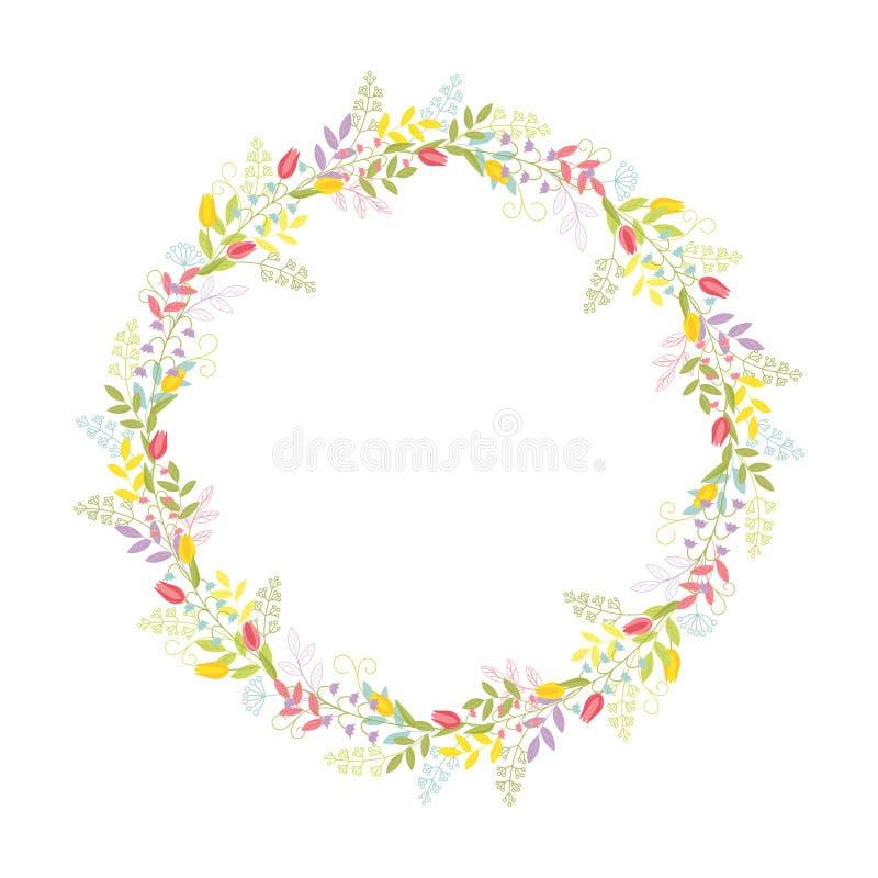 Wianek gałąź, liście, kwiaty, tulipany, leluje dolina i ostrza trawa z tendrils, Koloru ?liczny wektor royalty ilustracja
