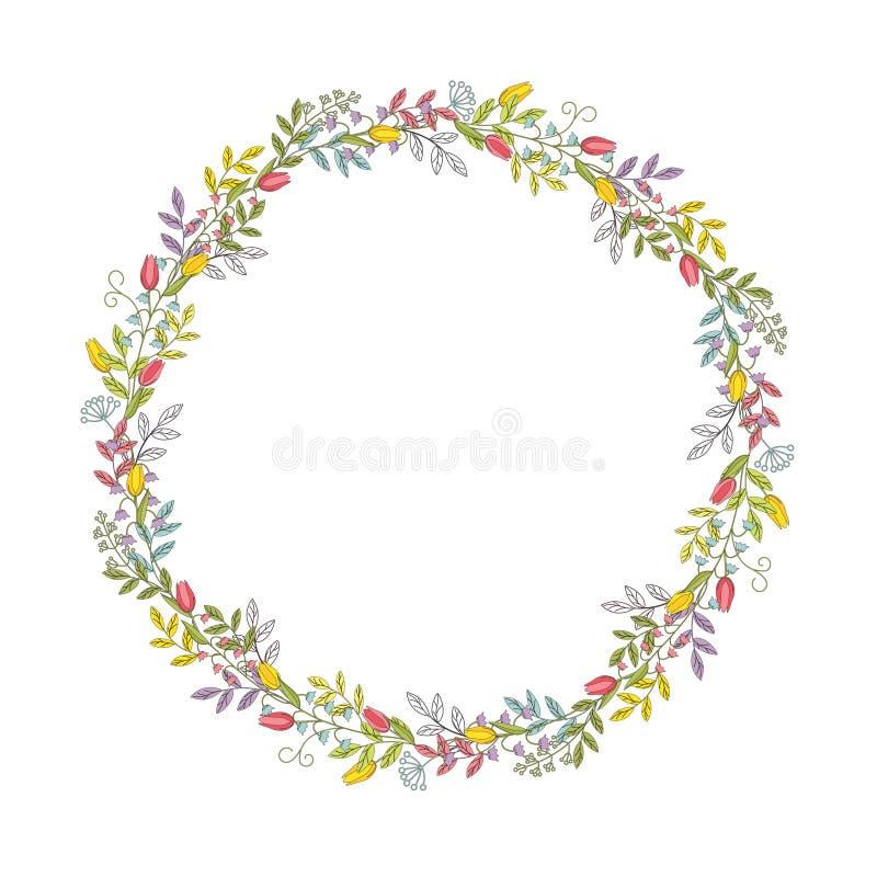 Wianek gałąź, liście, kwiaty, tulipany, leluje dolina i ostrza trawa z tendrils, Koloru wektor royalty ilustracja