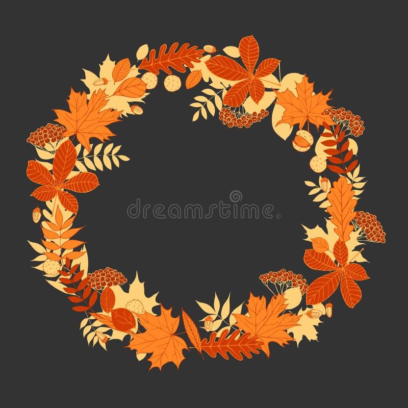 Wianek jesień liście royalty ilustracja