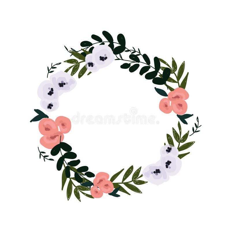 Wianek kwiaty - akwareli ilustracja Ręka malujący kolorowy kwiecisty skład ilustracja wektor