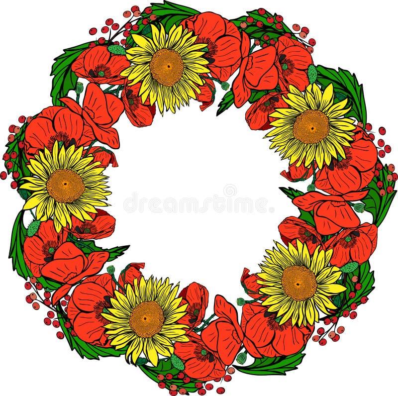 Wianek kwitnie maczki, żółtych słoneczniki le i zieleń czerwień, ilustracji