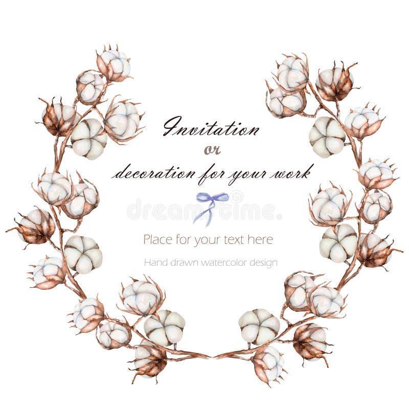 Wianek, okrąg rama z bawełna kwiatów gałąź, ręka rysująca na białym tle royalty ilustracja