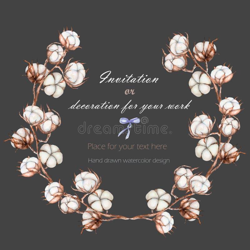 Wianek, okrąg rama z bawełna kwiatów gałąź, ręka rysująca na ciemnym tle royalty ilustracja