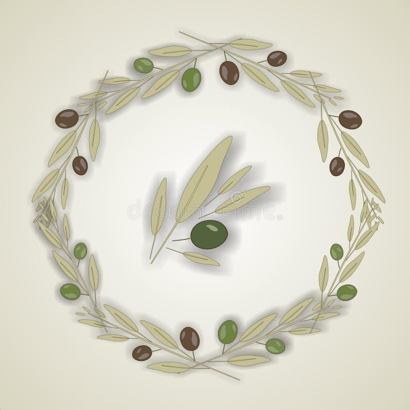 Wianek oliwni liście, wektor ilustracji