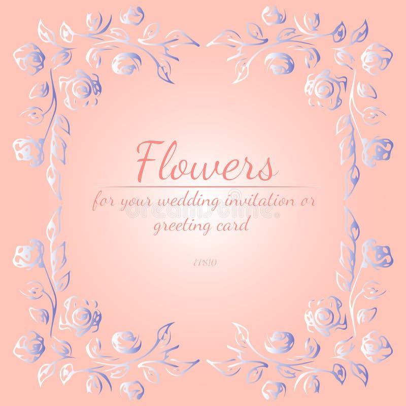 Wianek róże lub peonie kwitnie z menchiami, gradientowymi kolorami, żywymi korala, błękitnych i białych, kwieci?ci ramowi projekt royalty ilustracja