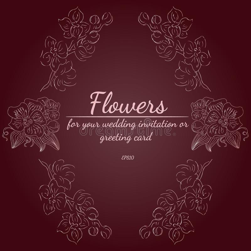 Wianek r??e lub peonie kwitnie z nieociosanymi czerwieni, br?zu, czekoladowych i jasnor??owych kolorami, kwieci?ci ramowi projekt royalty ilustracja