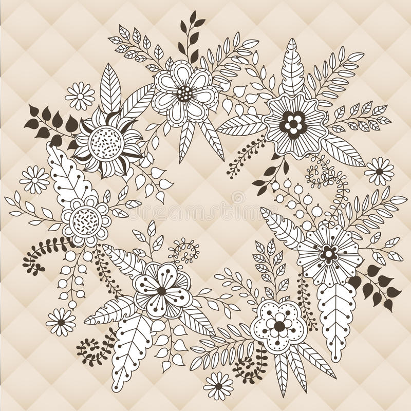 Wianek wektorowa ilustracja robić kwiaty i ziele ilustracja wektor