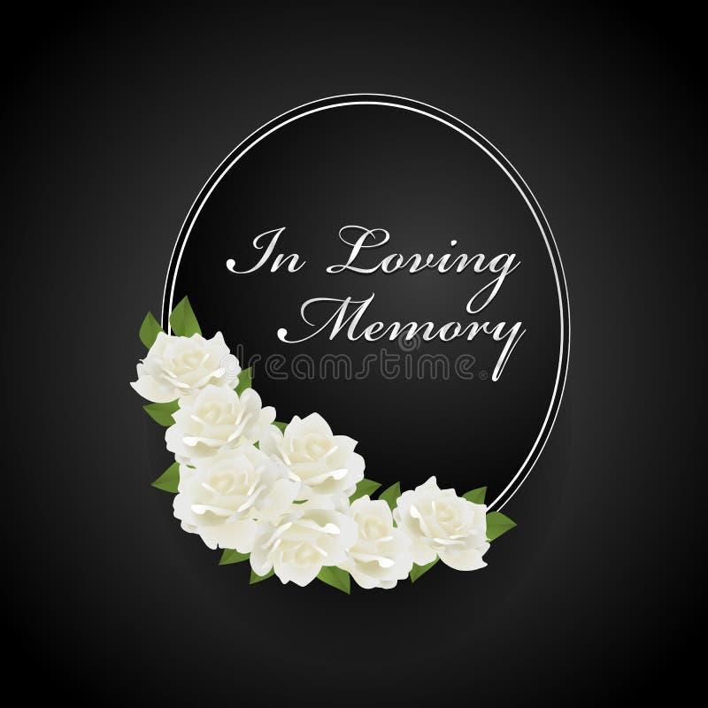 Wianek z biel różą na owal ramie w kochającego pamięć teksta wektorowym projekcie i ilustracji