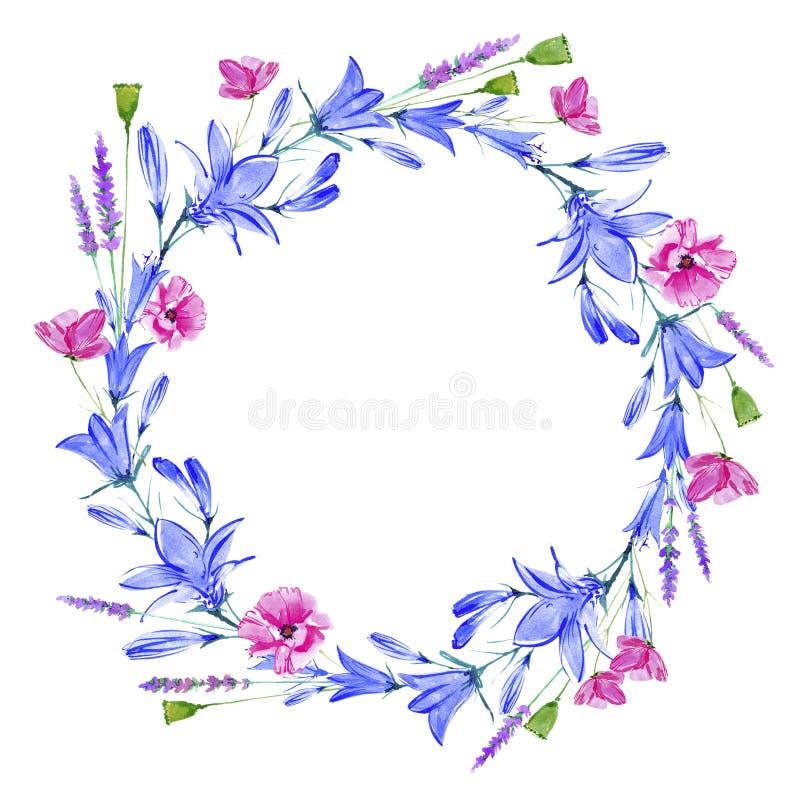Wianek z bluebell, ziele, lawenda, maczek kwitnie ilustracji