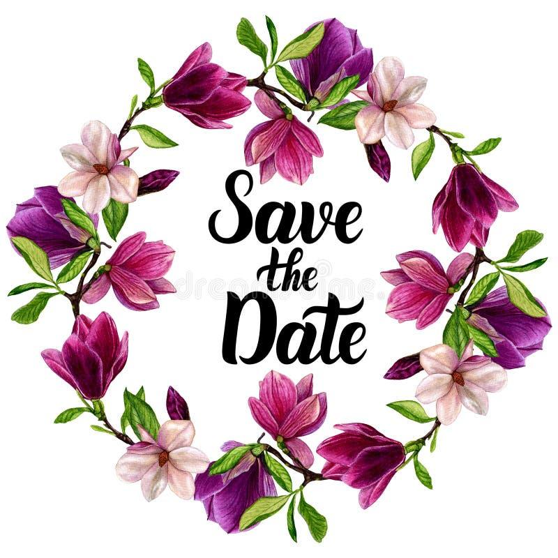 Wianek z kwiatami, handmade akwarela Dla projekta twój zaproszenia ślub ilustracji