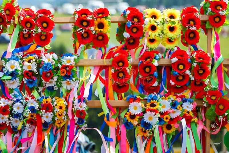Wianek z kwiatami ukraiński wianek zdjęcia royalty free