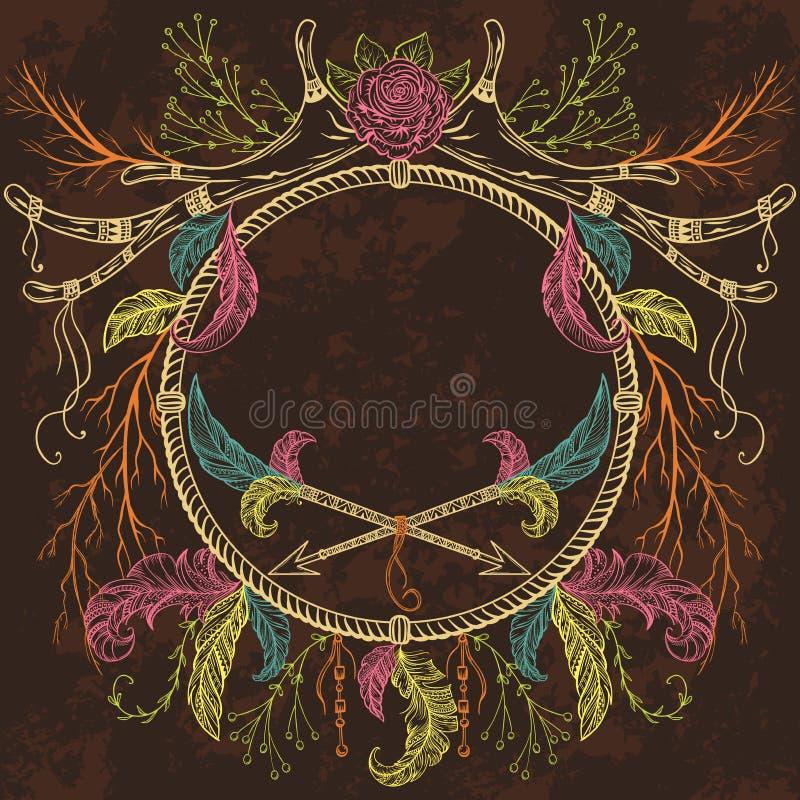 Wianek z poroże, piórko, strzała, kwiat, liść i gałąź w boho, projektujemy ilustracja wektor
