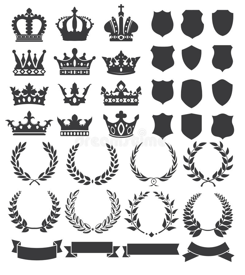 Wianki i korony royalty ilustracja