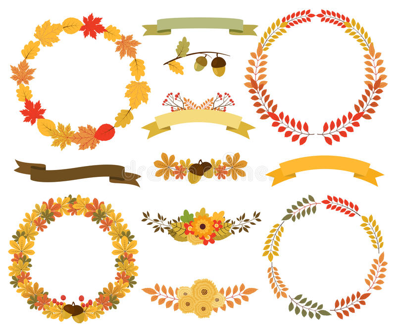 Wianki jesień liście Round ramy, tasiemkowi sztandary royalty ilustracja