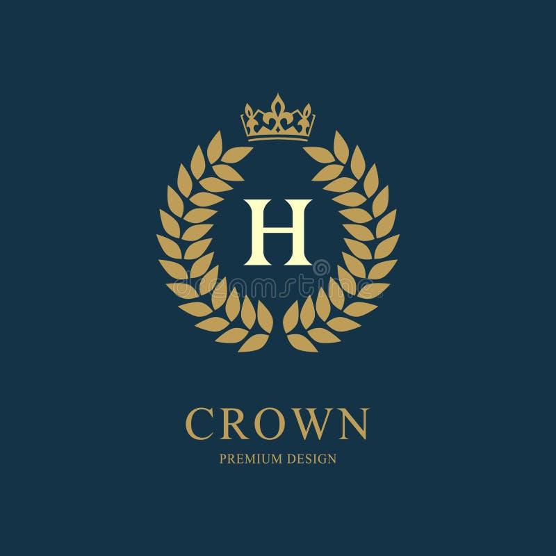 Wianku monograma luksusowy projekt, pełen wdzięku szablon Kwiecisty elegancki piękny round logo z koroną Listowy emblemata znak H royalty ilustracja