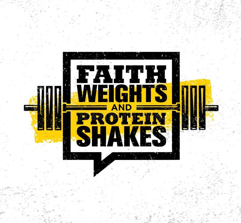 Wiara ciężary I protein potrząśnięcia Inspirować treningu i sprawności fizycznej Gym motywaci wycena ilustraci znaka ilustracji