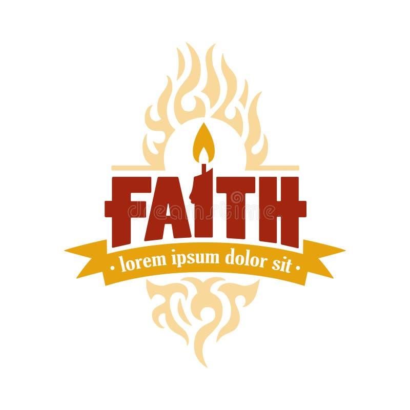 Wiary świeczki loga Wektorowy medalion ilustracja wektor