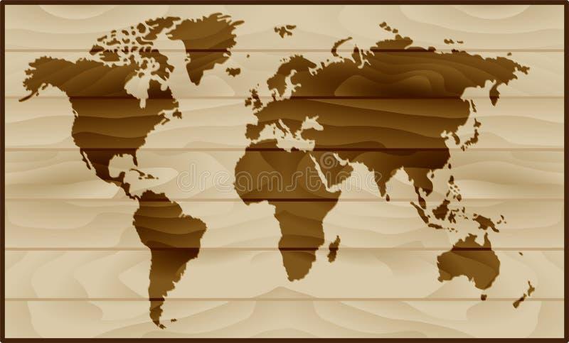 ?wiatowa mapa na drewnianym tle ilustracja wektor