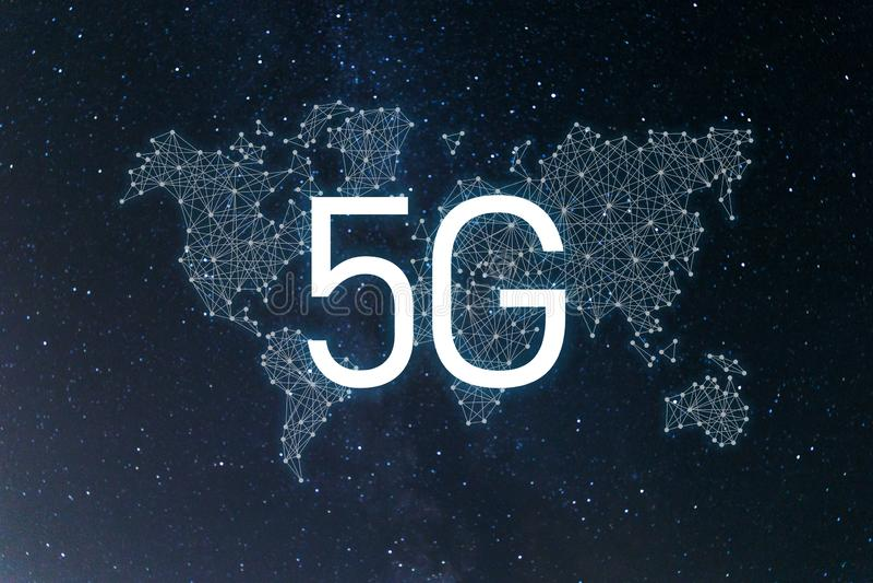 ?wiatowa spo?eczno?? i sie? 5G sieci Internetowy Mobilny Bezprzewodowy Biznesowy poj?cie ilustracja wektor