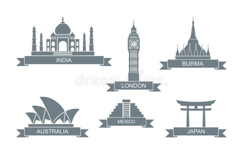 ?wiatowi architektoniczni przyci?gania Stylizowane płaskie ikony Taj Mahal, big ben i inny, royalty ilustracja