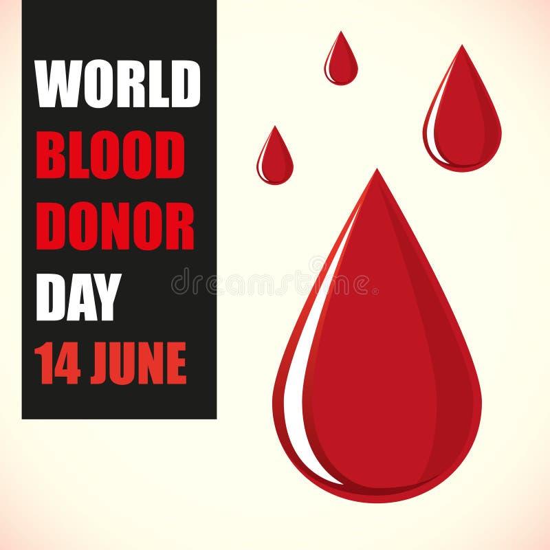 ?wiatowy Krwiono?nego dawcy dzie? Ilustracja z czerwoną krwią opuszcza na białym tle royalty ilustracja