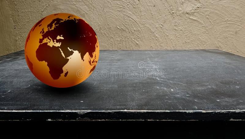 ?wiatowy kuli ziemskiej drewna t?o Światowa kula ziemska na czarnym drewnianym tle ilustracja wektor