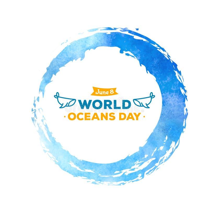 ?wiatowy oceanu dzie? Świętowanie dedykujący pomagać ochraniać i chronić światów oceany, Abstrakcjonistyczna ikona rysująca wodna ilustracji