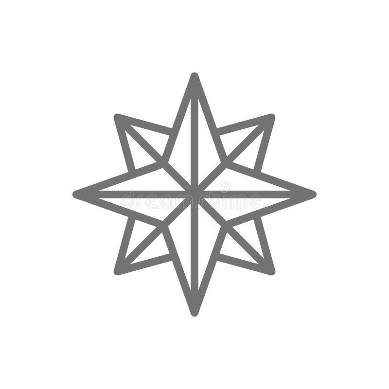 Wiatr róża, strony świat, kompas, kierunek, nawigacji kreskowa ikona royalty ilustracja