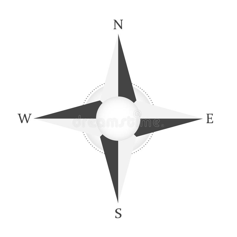 Wiatr różana cyrklowa wektorowa ikona Północno Zachodni Wschodnia południe gwiazda ilustracja wektor
