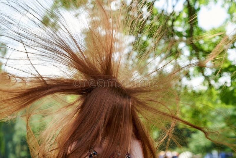 Wiatr trzepocze młoda dziewczyna włosy D?ugie w?osy t?o fotografia royalty free