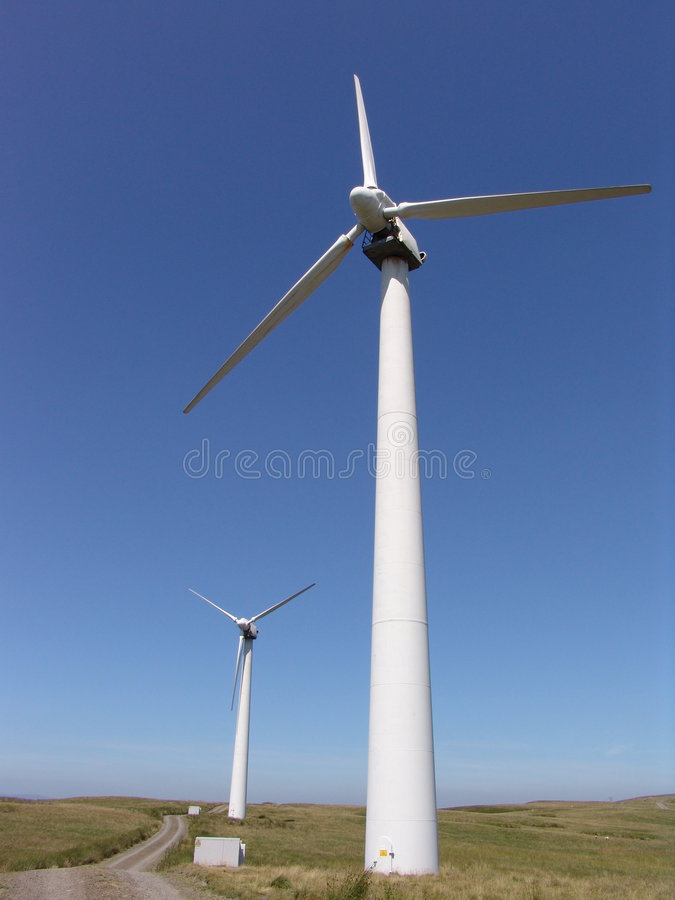 wiatr windfarm Welsh turbinami fotografia royalty free